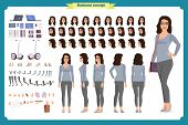 Young Woman, Casual Clothes. Character Creation Set. Full Length, Different Views, Emotions, Gesture poster