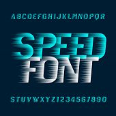 Speed Alphabet Font. Fast Wind Effect Oblique Type Letters And Numbers. Stock Vector Typeset. poster