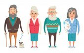 Grandparents Collection, Granny Holding Kitty, Granddad With Stick Walking Dog, Grandma And Grandpa  poster