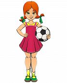 Naughty Red-haired Girl With A Ball For Football. poster