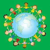 Children's day. multi-ethnic group of happy kids holding their hands around the globe vector illustr