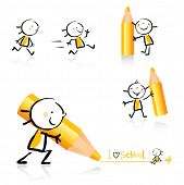 children hand-drawing style educational icon set. Cute girl character series, grouped and layered fo