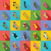 Socks Textile Icons Set. Flat Illustration Of 25 Socks Textile Icons For Web poster