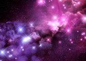 Pink And Purple Galaxy Nebula And Stars Background. Raster Illustration. poster