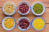 Various Kinds Of Beans,different Kinds Of Beans In Bowl On Wooden Table.healthy And Nutrition Food C poster