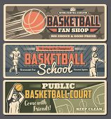 Basketball School Or Shop With Court Retro Banners With Professional Players In Uniform With Ball. S poster