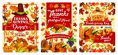 Thanksgiving Day Greeting Cards Or Posters For Traditional Autumn Holiday Festival. Vector Design Of poster