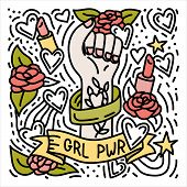 Girl Power Hand Drawn Doodle Feminist Poster With Womans Fist poster