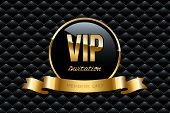 Vip Invitation Design Template. Vector Golden Ring With Ribbon And Vip Invitation Text On Black Luxu poster