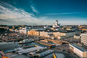 Helsinki, Finland. Top View Of Market Square, Street With Presidential Palace And Helsinki Cathedral poster