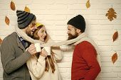 Men And Woman, Happy Family Fashion. Season And Autumn Holiday. Happy Friends At Autumn Leaves In Sc poster