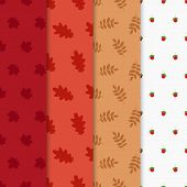 Vector Autumn Set, Seamless Pattern With Leaf, Autumn Leaf Background.autumn Seamless Pattern. Vecto poster