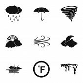 Climatic Icons Set. Simple Set Of 9 Climatic Icons For Web Isolated On White Background poster