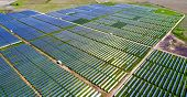 Solar Panel Farm Providing Clean Renewable Energy For Austin , Texas - Green Summer Time Grass With  poster