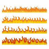 Bonfire Night Fire Banner Concept Set. Flat Illustration Of 4 Bonfire Night Fire Banner Horizontal C poster