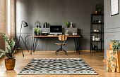 Scandi Grey Home Office Interior poster