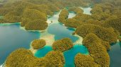 Aerial View: Bucas Grande Island, Sohoton Cove. Philippines. Tropical Sea Bay And Lagoon, Beach. Tro poster