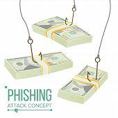 Phishing Money Concept Vector. Fraud Theft Protection. Leakage Information. Economic Crisis. Cartoon poster
