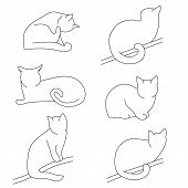 Vector Set Of Contour Cat Silhouettes. Different Postures: Sitting, Lying, Resting, Playing, Hunting poster