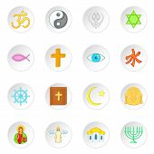 Religion Symbols Icons Set In Cartoon Style. World Religions Set Collection Illustration poster