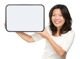 picture of early 50s  - Asian middle aged woman showing whiteboard sign isolated on white background - JPG