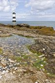 stock photo of anglesey  - Penmon Point Lighthouse in Anglesey North Wales - JPG