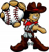 picture of gaucho  - Baseball Cartoon Boy Cowboy Holding Bat Vector Illustration - JPG