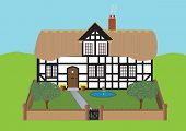 foto of english cottage garden  - A Half Timbered Thatched Cottage and Garden with Apple Trees Fountain and Flowers - JPG