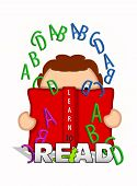 picture of bookworm  - Illustration shows child holding an open book and looking through letters of the alphabet that float off the pages of the book - JPG