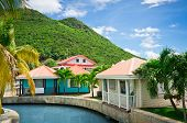 stock photo of wooden shack  - Beautiful houses at Philipsburg St Maarten Caribbean Islands - JPG