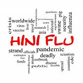 H1N1 Flu Word Cloud Concept In Red Caps