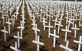 picture of abort  - 4000 white crosses representing the number of abortions performed each day - JPG