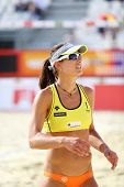 MOSCOW - JUNE 6: Athlete woman from USA looks up in Country Quota at tournament Grand Slam of beach