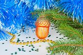 Christmas Bump Under The Christmas Tree With Decorative Ornaments
