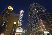 pic of marquee  - Broadway Portland Oregon Downtown Entertainment District at Evening Blue Hour with Blank Marquee Sign - JPG