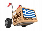 Made in Greece - Cardboard Box on Hand Truck.
