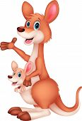 foto of kangaroo  - Vector illustration of Mother and baby kangaroo cartoon - JPG