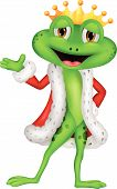 stock photo of prince charming  - Vector illustration of Cute king frog cartoon with presenting - JPG