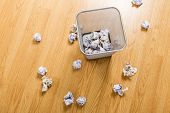 stock photo of dustbin  - Trash basket and paper ball - JPG