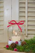 picture of masonic  - Holiday candle in mason jar with bow and pine - JPG