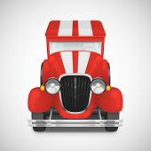 stock photo of car carrier  - Red Fire Truck Retro Car Icon - JPG