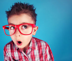picture of nerd glasses  - Surprised five years old boy wearing glasses - JPG