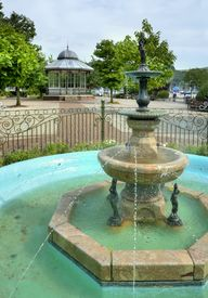 picture of dartmouth  - The fountain and bandstand at Dartmouth Park - JPG