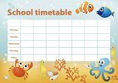 foto of school fish  - School timetable with cartoon sea animals in background - JPG