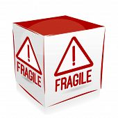 stock photo of fragile sign  - Icon Cube Fragile with sign in red - JPG