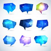 stock photo of prism  - Set of abstract speech bubbles or talk balloons of polygon prism pattern - JPG
