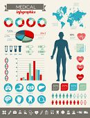 picture of medical chart  - Medical infographics with many vector icons and various charts - JPG