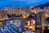 pic of typhoon  - Typhoon shelter in Hong Kong at night - JPG