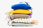 stock photo of sachets  - Decorative textile sachet pouches on white background - JPG