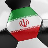 pic of iranian  - Close up view of a soccer ball with the Iranian flag on it - JPG